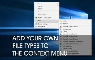 Add New File Types to Context Menu