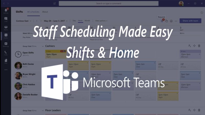 staff scheduling shifts home microsoft teams pit crew it