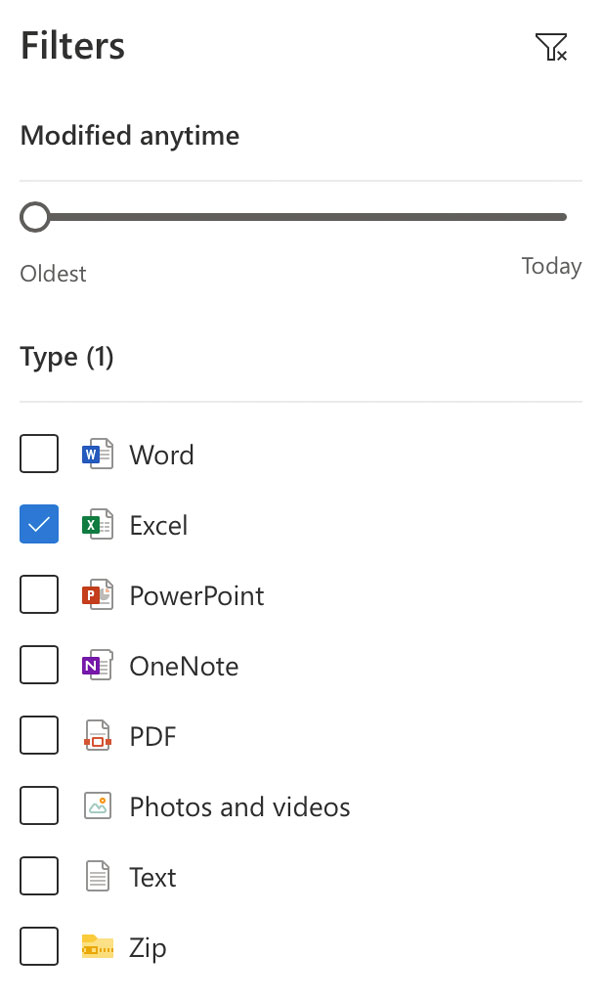 OneDrive File Type Filter