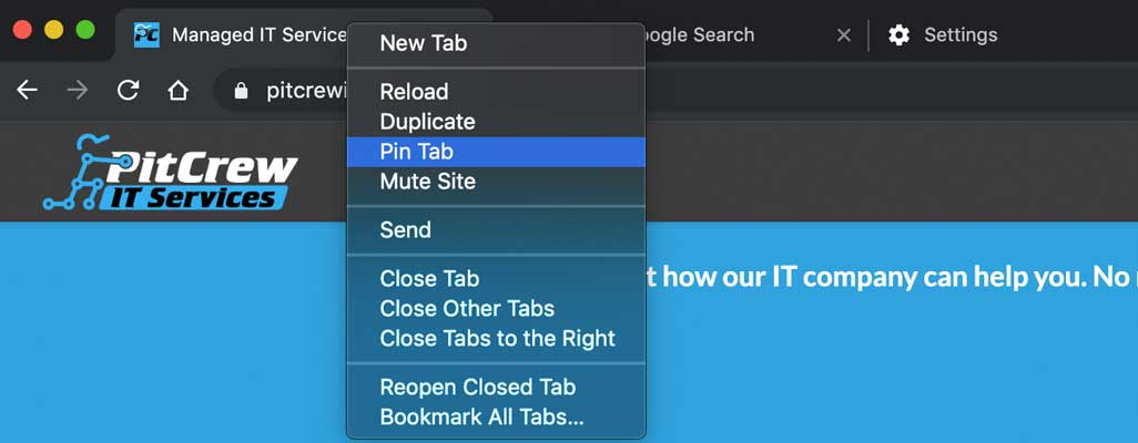 Chrome Pin tab