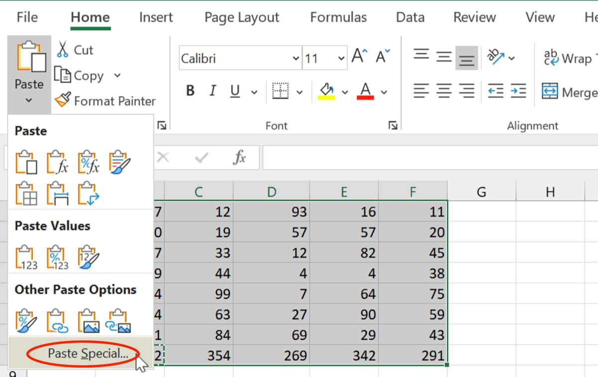 Microsoft Excel Tips - Paste Special