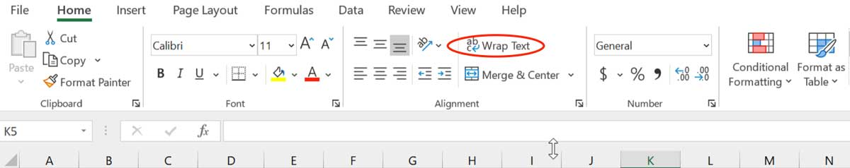 Microsoft Excel Tips - Wrap Text